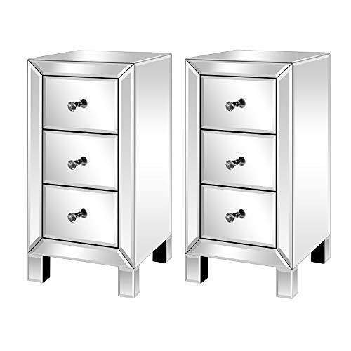 WDDH Mirrored Nightstand Set of 2, 3-Drawer Mirrored Bedside Table, Silver Finished Accent Side Table Chest Cabinet for Small Space, Living Room/Bedroom (11.8