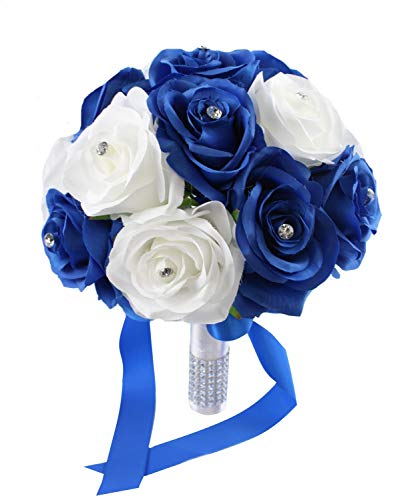 """Angel Isabella 9"""" Wedding Bouquet: Royal Blue & White Artificial Roses with Rhinestone Decor"""
