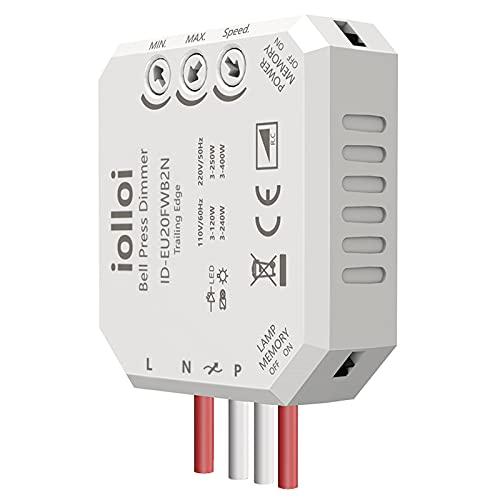 iolloi Unterputz Dimmer-Aktor Dimmer-Schalter max. 250W LED 300W Halogen mit Phasenabschnitt-Dimmer Geeignet für zwei verschiedene Spannungen, Trafos & Leuchten mit Netural-Linie