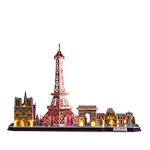 World Brands - Led Paris City Line, Torre Eiffel 3d Con Luz, Puzzle 3d Niños, Maquetas Para Montar Adultos, Rompecabezas 3d, Kit De Construcción Luminoso, Regalos Divertidos, Puzzles 3d