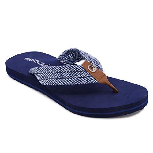 Nautica Women's Sandals, Flip Flop, Slipper Slide-White Dune 1-Blue Herringbone-8