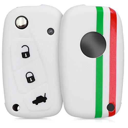 kwmobile Funda Compatible con Fiat Lancia Llave de Coche de 3 Botones - Carcasa Protectora Suave de Silicona - Bandera Italiana