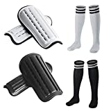 2 Pairs Kids Soccer Shin Guards &2 Pairs Soccer Socks for Children 5-12 Years Old, Protective Gear Soccer Equipment forKids, Boys, Girls