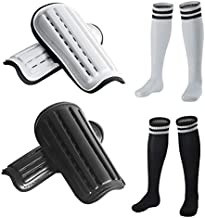 2 Pairs Soccer Shin Guards & 2 Pairs Soccer Socks for Adults and Teenagers, Protective Gear Soccer Equipment forKids, Boys, Girls Over 12 Years Old