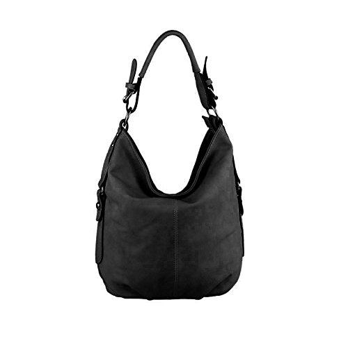 OBC Damen Tasche Shopper Hobo-Bag Henkeltasche Leder Optik Schultertasche Umhängetasche Handtasche Crossover CrossBag Damentasche Reisetasche Beuteltasche (Schwarz V1)