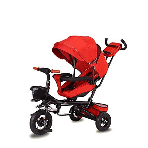 NUBAO Triciclo Evolutivo Toral Trikes Trikes para niños, Plegable 1 año de Edad Asiento Giratorio para niños reclinable niños 3 Ruedas Caja Fuerte toldo Empuje (Color: Rojo)