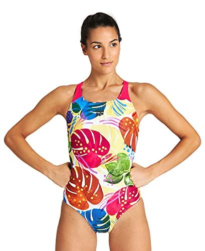 ARENA W Tropics Swim Pro Back One Piece - Bañador Deportivo para Mujer, Color Freak Rose/White Multi, Talla 40