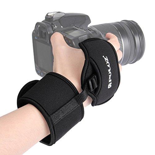 wortek Kamera-Gurt Handschlaufe gepolstert Handgelenk Befestigung Universal für DSLR (stabile Videos, Ultra Grip bei Aufnahmen) aus Neopren Schwarz (z.B. Nikon, Canon, Sony, Samsung, Panasonic)