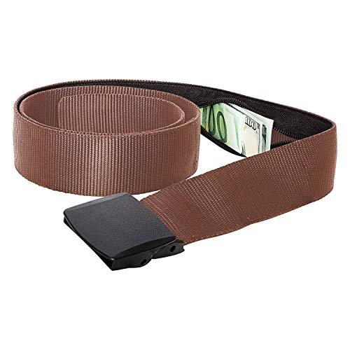 Zero Grid Travel Security Belt - Hidden Money Pouch - Non-Metal Buckle (Black)