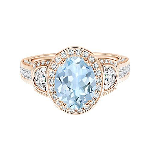Shine Jewel 1,50 Ctw Forma Ovalada Aguamarina Piedra Preciosa 9 K Oro Solitario Halo Anillo de Bodas para Mujer (Oro Rosa, 18)