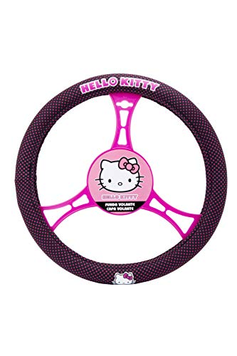 Hello Kitty KIT3018 Funda de Volante Detalles Coche Universal, Negro/Rosa