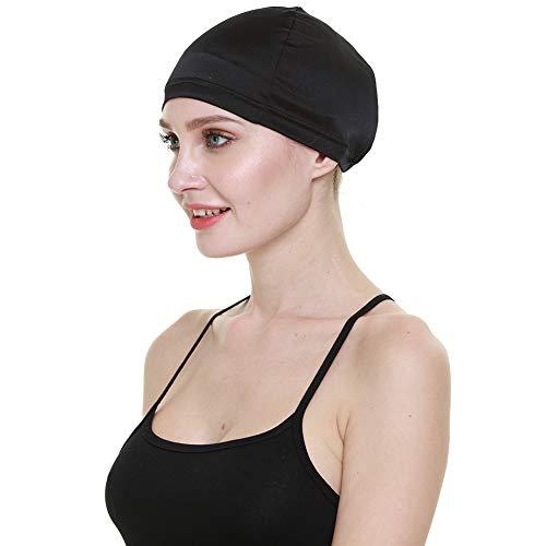 Wig Cap,100% Mulberry Silk Hair Loss Cancer Women Bald Head Elastic Band Black
