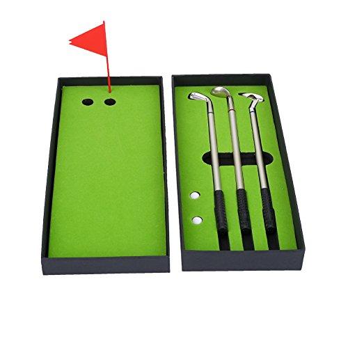 Golf Kugelschreiber Golf-Pen-Set Mini-Golfbälle Spielzeug Golfgeschenkartikel enthält Putting Green Flagge 3 Golf Clubs Stifte und 2 Bälle