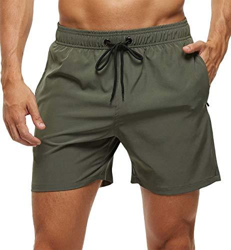 Tyhengta Men's Stretch Swim Trunks Quick Dry Beach Shorts with Zipper Pockets and Mesh Lining ArmyGreen 32