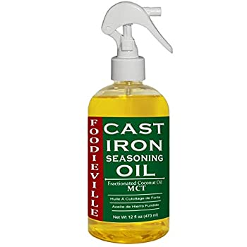 Creation Farm Foodieville Cast Iron Oil for Seasoning Non-stick Conditioning Season of Cast Iron Skillets Pots Pans with Oils of Flaxseed Sesame MCT Larger 12 oz Size with Spray Applicator