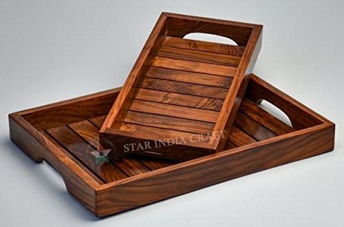 Plateau de table basse en bois de sheesham massif, marron, pour bureau, courrier, porte-documents (33 x 15,2 x 3,8 cm)
