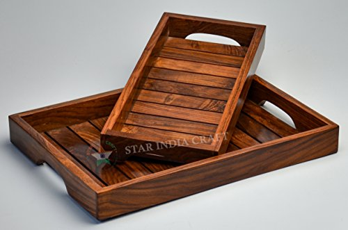 Plateau de table basse en bois de sheesham massif Marron 33 x 15 x 3,8 cm