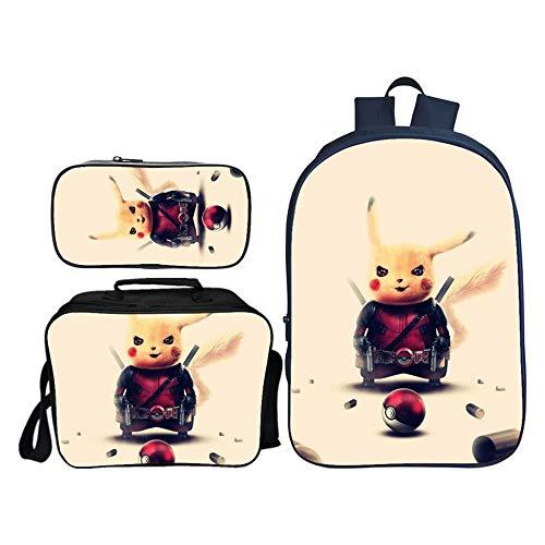 Mochilas para Niños Detective Pikachu Mochila Impresa + Bolsa De Mensajero + Estuche De Lápices Conjuntos De Paquetes Combinados Mochilas Diarias L