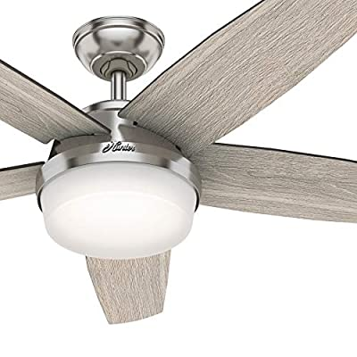 Hunter Fan 52 inch Contemporary Brushed Nickel Indoor Ceiling Fan with Light Kit and Remote Control (Renewed) from Hunter Fan Company