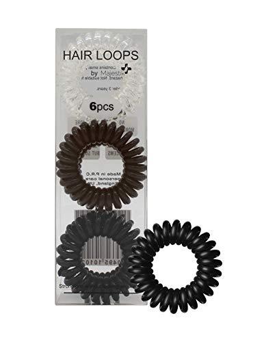 Capelli loops- 6pcs spirale Fermacoda no crease Elastic Ponytail titolari Phone Cord elastici per capelli anello capelli elastici, adatto per tutti i tipi di capelli