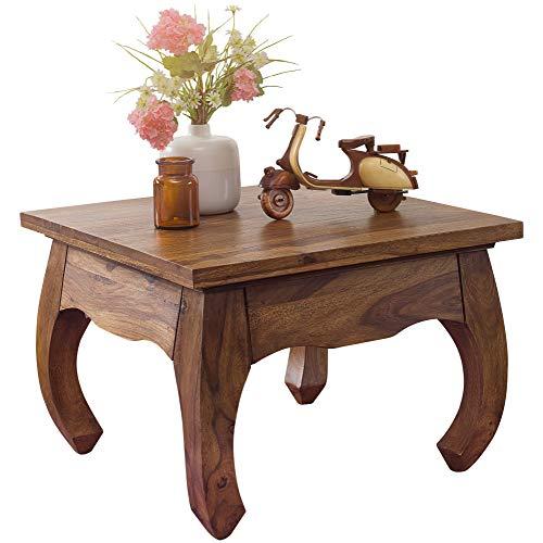 FineBuy Opium Couchtisch Jaipur 60 x 40 x 60 cm Sheesham Massiv-Holz | Echtholz Wohnzimmertisch quadratisch braun | Palisander Stubentisch niedrig | Beistelltisch Sofatisch klein | Tisch Wohnzimmer