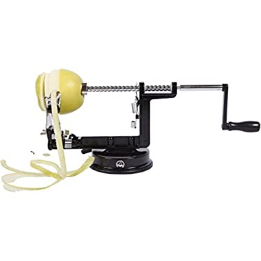 Precision Kitchenware - Stainless Steel Apple Peeler Corer and Slicer - Luxury Black Edition