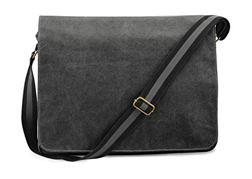 Quadra Vintage Canvas Despatch Bag, Schultasche, Umhängetasche, Black,