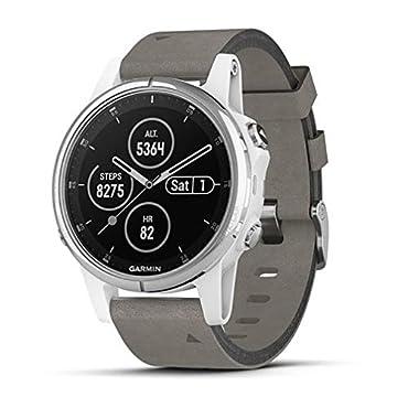 Garmin fenix 5S Plus Sapphire Multisport GPS Watch (White with Gray Suede Band)
