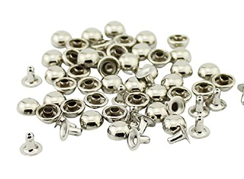 Remaches de metal, 100sets / lot tamaño múltiple Silver Bronce Gun-Black Redondo Remaches de setas para cuero Herramientas de neumáticos de artesanía y espigas para la ropa para decoración de reparaci