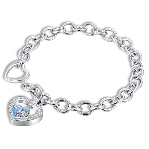 SISMIURRA Charm Chain Link Bracelet for Women Fashion Platinum Plated Snowflake Love Heart Pendants Bracelets with Swarovski Cubic Zirconia Crystals
