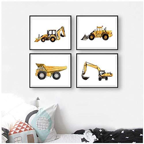 Mmdianpu Baufahrzeug Bunte Jungen Wandkunst Leinwand Malerei Bilder Kipper Bagger Poster Und Drucke Kinderzimmer Wohnkultur (30x40 cmx4 kein Rahmen)