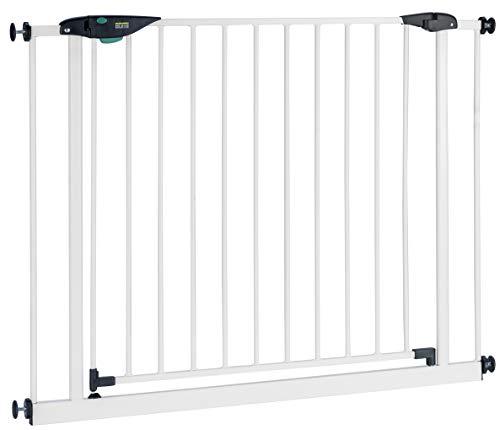 BOMI Treppen Gitter 83-243 | Zum Klemmen | 90° Stop | Schließt automatisch | Absperrgitter weiß für Treppen, Türrahmen | Hochwertiges Treppenschutzgitter