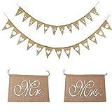 Guirnalda de banderines para boda, vintage, guirnalda de corazones, yute, guirnalda de banderines, just married,...
