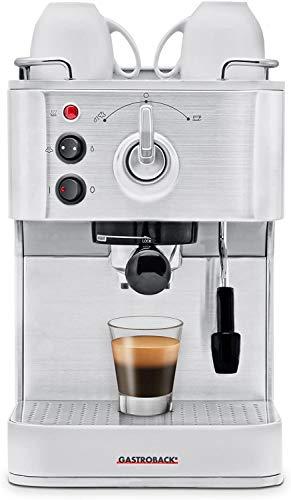 Gastroback 42606 Design Espresso Plus, Espressomaschine, Siebträger, professionelle, ital. Espressopumpe (Ulka/15 bar), 1250 Watt, Edelstahl, silber