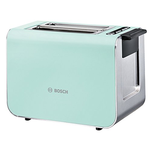 Bosch TAT8612 Styline Kompakt-Toaster, Auftau/Aufwärmfunktion, versenkbarer Brötchenaufsatz, Abschaltautomatik, 860 W, grün