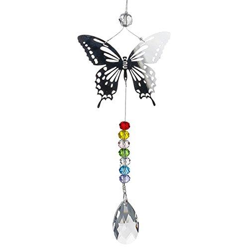 H&D HYALINE & DORA Attrape-Soleil de Cristaux Pendentif Papillon Chakra avec prismes Arc-en-Ciel de 38 mm