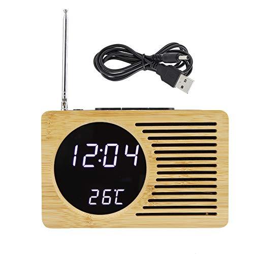 Wifehelper Multiusos USB Digital LED Reloj Despertador Termómetro Hora Temperatura Pantalla FM Radio Reloj Despertador Escritorio Mesita de Noche Radio Reloj