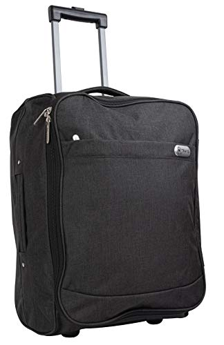iN Travel Cabin Bag Trolley with Wheels Hand Luggage Flight Bags Suit Case for Easyjet, British Airways, Virgin, Jet 2 and Many Others Airlines or Travel (Dark Grey)