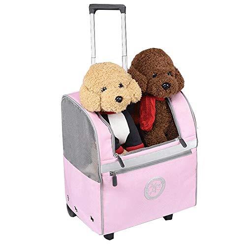 YUMEIGE Hundewagen Haustier Buggy umweltfreundliches DVC Mesh, Hundebuggy Belüftung, Pet Kinderwagen 4 Rad Beladung 6kg (Color : Pink)