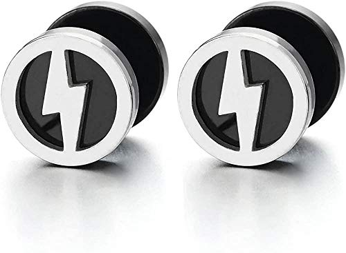 NC188 Mens Women Lightning Bolt Silver Black Circle Stud Earrings Steel Cheater Fake Ear Plugs Gauges