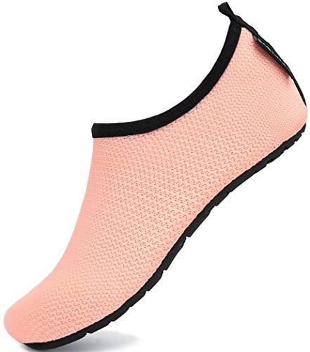 SAGUARO Niños Niñas Zapatos de Agua Calcetines Zapatillas de Deporte Descalzos Aire Libre Snorkel Deportes Acuáticos Escarpines Piscina Playa Yoga Secado Rápido,Apricot Rosa 28/29 EU