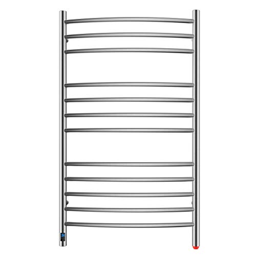 HEATGENE Towel Warmer with Timer, Electric Towel Warmer with Temperature Control, Wall-Mounted Large 12 Bars Towel Racks with Built-in Timer, Plug-in/Hardwired Electric Towel Rails - Brushed