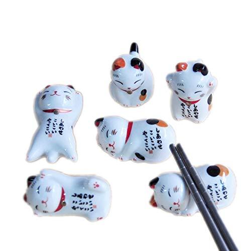 1pieza soporte de palillos de cerámica de estilo japonés soporte lindo gato de la suerte estante para palillos almohada cuidado resto cocina arte artesanía vajilla-patrón aleatorio