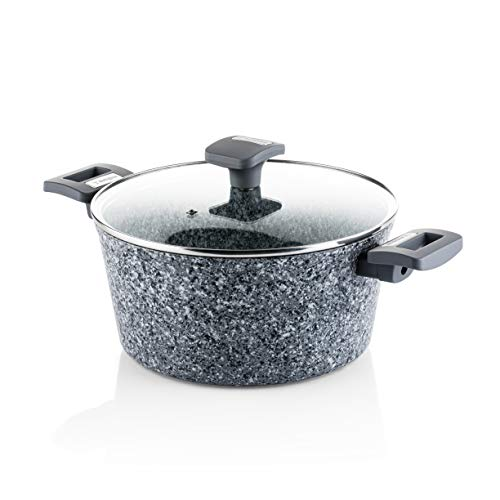Westinghouse Cookware Forged Aluminium Casserole with Non-Stick Granite Coating and Grey Handles, Diameter - 24 cm