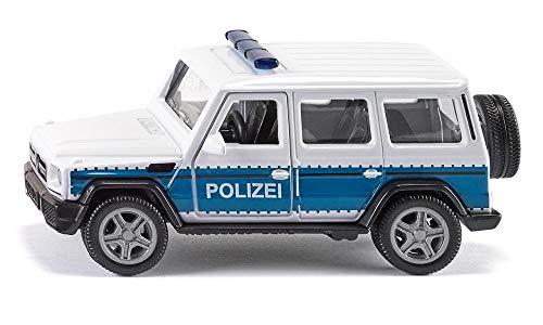 siku 2308 Coche policía Mercedes AMG G65 con enganche remolque, Ruedas desmontables, 1:50, Metal/Plástico, Azul/Blanco