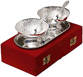 Odishabazaar Silver Plated Brass Bowl with Tray - Set of 5