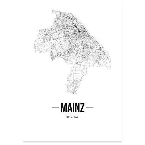 JUNIWORDS Stadtposter, Mainz, Wähle eine Größe, 21 x 30 cm, Poster, Schrift B, Weiß
