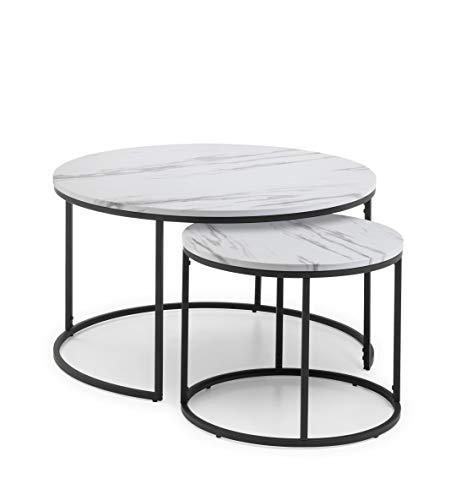 Julian Bowen Round Nest of Tables, Metal, White Marble, One Size