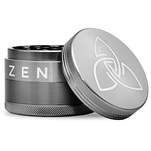 Zen XXL Grinder de aluminio extremadamente ligero, inoxidable y robusto de la aviación espacial, picador con arañazos en el compartimento para polen, diámetro de 6,30 cm