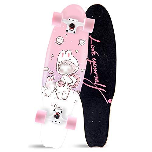 Patineta de 27 'x 7.5', patineta completa Mini Cruiser, patineta de arce de 7 capas para adolescentes, patineta para principiantes, tabla de peces pequeños para niños, patineta para niñas y niños pa